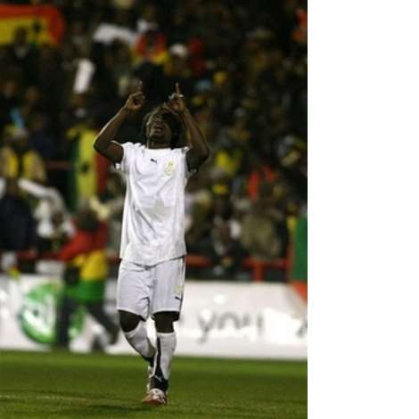 Ghana's Laryea Kingson celebrates after scoring against Nigeria's during their International friendly soccer match at Griffin Park Stadium, London, Tuesday Feb. 6, 2007. (AP Photo/Graham Hughes)