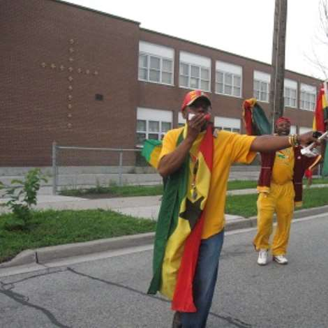 GHANAIANS CELBRATE WHILES OTHERS DEMONSTRATE IN TORONTO.