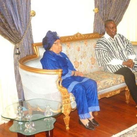 VICE PRESIDENT MAHAMA AND LIBERIAN PRESIDENT MRS JOHNSON-SIRLEAF AT JUBILEE LOUNGE