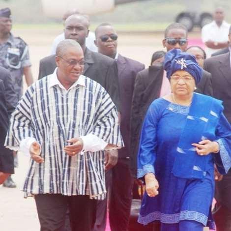 VICE PRESIDENT MAHAMA AND LIBERIAN PRESIDENT MRSJOHNSON-SIRLEAF ON THEIR WAY TO THE JUBILEE LOUNGE