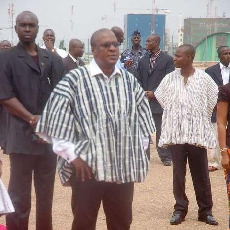 VICE PRESIDENT MAHAMA WAITNG FOR MRSJOHNSON- SIRLEAF, LIBERIAN PRESIDENT ON THE TARMAC AT THE K.I.A.
