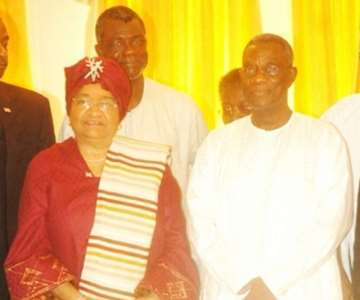 PRESIDENT MILLS (RIGHT) AND MRS JOHNSON-SIRLEAF AT THE CASTLE, OSU.
