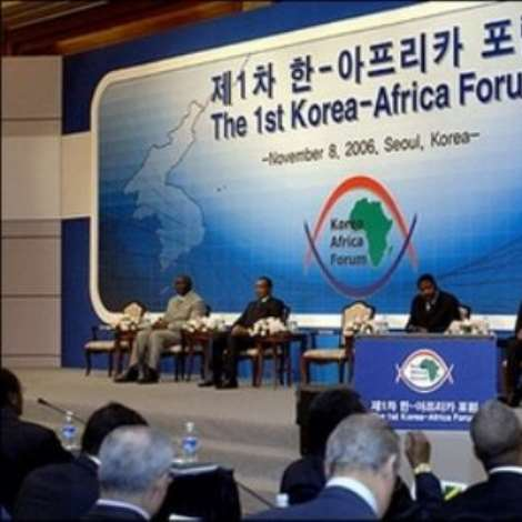 South Korean Foreign Minister and incoming UN chief Ban Ki-Moon(R) delivers a speech while (L-R) Presidents John Agyekum Kufuor of Ghana, Denis Sassou-Nguesso of the Congo, Boni Yayi of Benin and Jakaya Mrisho Kikwete of Tanzania attend the 1st Korea-Africa Forum in Seoul. South Korea confirmed a pledge to triple development aid to Africa by 2008.