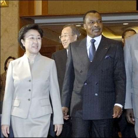 South Korean Prime Minister Han Myeong-Sook(L) arrives with Republic of Congo's President Denis Sassou-Nguesso(C) and Ghana's President John Agyekum Kufuor(R) to attend the opening ceremony of the 1st Korea-Africa Forum in Seoul. South Korea confirmed a pledge to triple development aid to Africa by 2008.