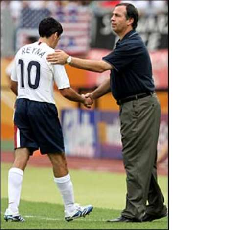 Bruce Arena is forced to substitute captain Claudio Reyna for Ben Olsen on 40 minutes due to a knee injury