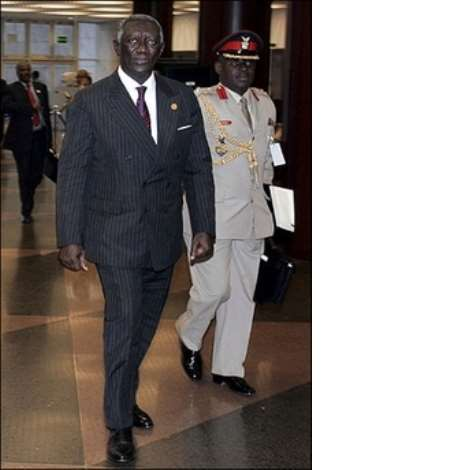 President John Kufuor of Ghana arrives at the African Union summit in Addis Ababa. Sudan suffered a double humiliation after the African Union summit opened when it was snubbed in favour of Ghana for the AU presidency and lectured by UN chief Ban Ki-Moon over the conflict in Darfur.(AFP/Marco Longari)