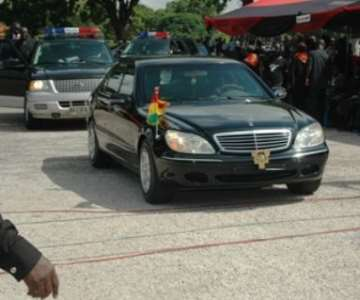 President John Agyekum Kufuor arrives at the funeral grounds as the chief mourner.<br/>Source: GNA