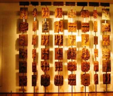 Benin bronzes on display in the British Museum, London.