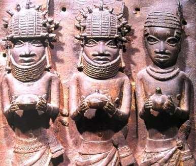 Three dignitaries with bowls, Benin. Ethnology Museum, Leipzig
