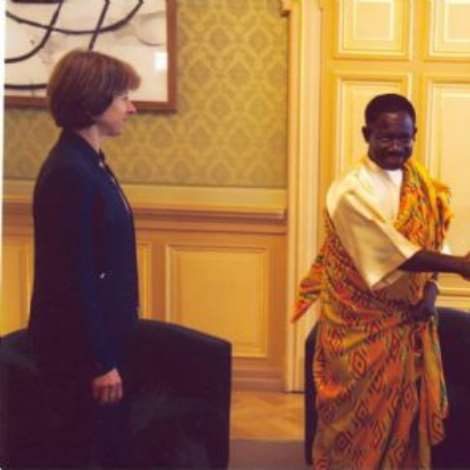 OCTOBER 19TH, 2006-H.E. Mr. Kwabena Baah-Duodu taking leave of H.E. President Moritz Leuenberger after the presentation of credentials. Looking on is the Federal Chancellor, Ms. Anne-Marie Huber-Hotz.
