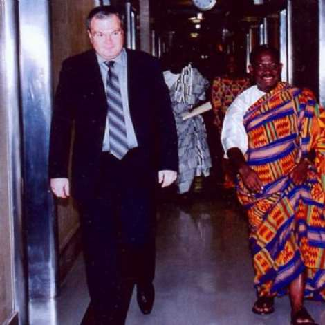 SEPTEMBER 28TH, 2006-Ambassador Baah-Duodu, being escorted away from the office of the Director-General of the UN, Geneva after the credentials presentation ceremony