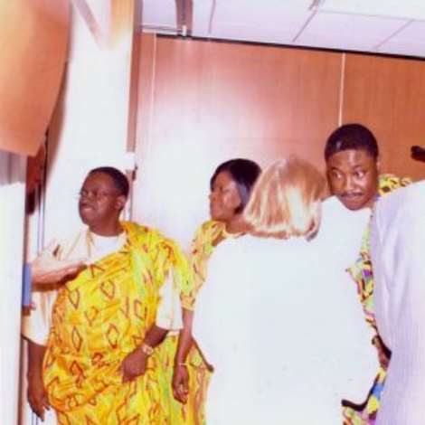 19TH OCTOBER, 2006-Post Credentials reception at Berne- Ambassador Baah-Duodu receiving guests.From left to right: Ambassador Baah-Duodu, Mrs. Edith Baah-Duodu,  Mr. Daniel Okaiteye-Blessyn, First Secretary / Head of Chancery and Mr. Isaac Agyekum