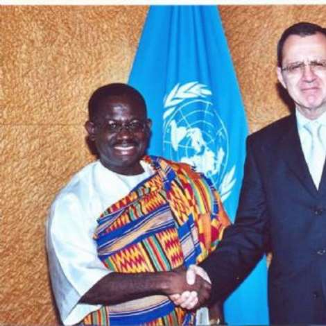 PRESENTATION AT UN GENEVA, SEPTEMBER 25TH , 2006.-H.E. Mr. Kwabena being welcomed by H.E. Mr. Sergei Ordzonikidze, Director-General of the United Nations Office in Geneva