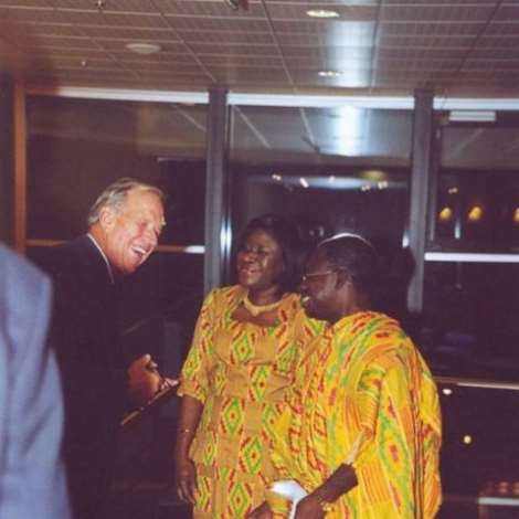 19TH OCTOBER 2006. POST - CREDENTIAL RECEPTION-H.E. and Mrs. Kwabena Baah-Duodu having a hearty chat with Mr. Hans Buser, a leading member of the Ex-Ghana/Swiss society