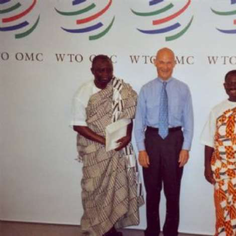 WTO- OCTOBER1 9TH, 2006-From right to left: H.E. Mr. Kwabena-Baah-Duodu, Ambassador and Permanent Representative, Mr. Pascal Lamy, Director-General of the WTO and Mr. Paul K. Aryene, Deputy Permanent Representative of Ghana