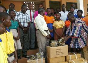 Lower Axim Nkosuohene Gives Maths Sets To Nzema East BECE Candidates