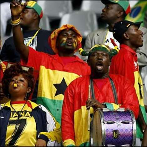 The Ghanian supporters hope their side can pull off a massive upset - even without influential midfielder Michael Essien