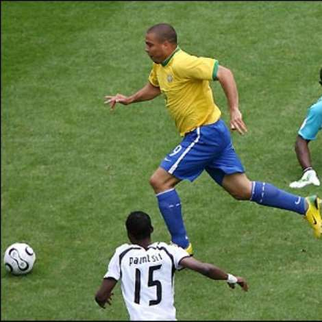 Brazil go ahead after just five minutes when Ronaldo cleverly rounds goalkeeper Richard Kingson to score