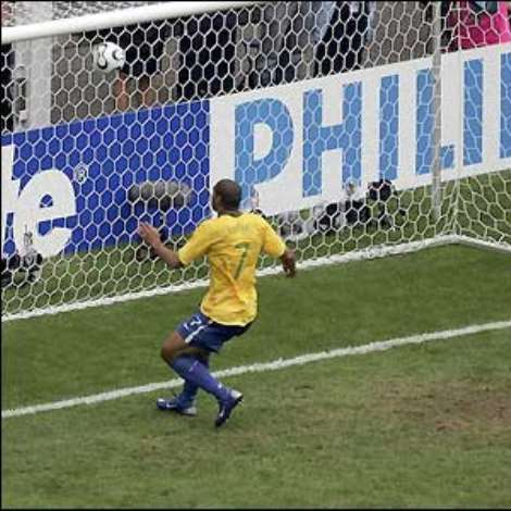 Ghana look dangerous but are hit on the break just before half-time when Adriano nets Brazil's second from close range