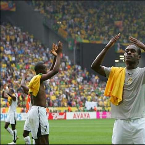 Derek Boateng and his team-mates take the applause of the crowd as Ghana bow out of the tournament with great credit
