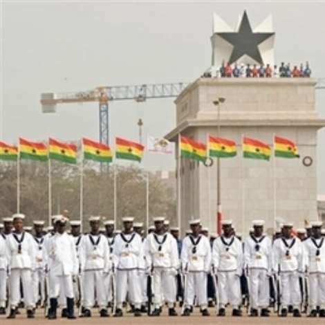 Ghanaian navy troops stand in line, during Ghana's 50 years of independence celebrations at the Independence Square in Accra, Ghana, Tuesday, March 6, 2007. Lasers lit the sky and an actor relived the emotional moment 50 years ago when independence leader Kwame Nkrumah declared Ghana 'free forever' to kick off celebrations Tuesday in the first sub-Saharan African nation to break from Europe. (AP Photo/Olivier Asselin