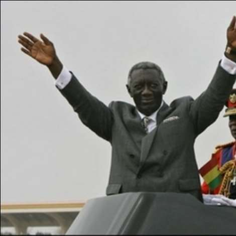Ghanaian President John Kufuor salutes supporters during celebrations of the 50th anniversary of Ghana's independence in Accra. Ghanaians turned out in their thousands Tuesday for the colourful ceremonies.(AFP/Kambou Sia)