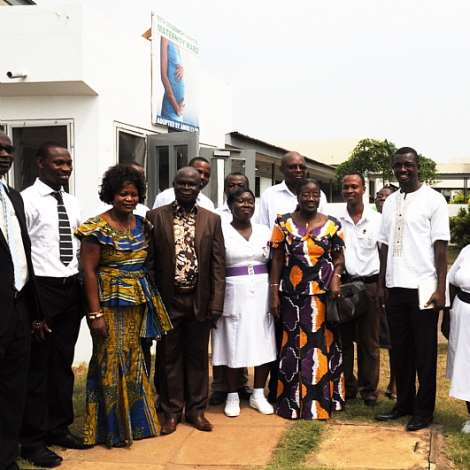 MRS.MATILDA AMISSAH-ARTHUR IN A GROUP PHOTOGRAPH WITH THE STAFF OF THE KETA GOVT. HOSPITAL.