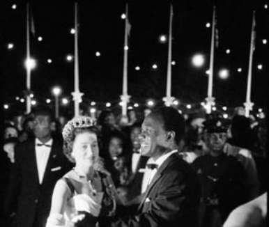 GHANA. Queen Elizabeth II on a state visit to Ghana. Dancing with Ghanaian President  Kwame Nkrumah. 1961.