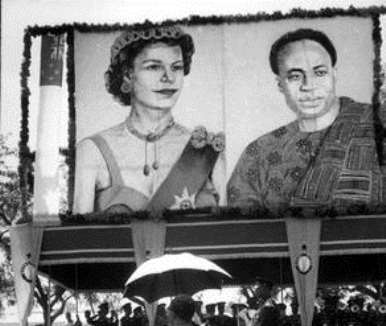 Ghana. Accra .Poster of Queen Elizabeth II and Prime Minister, Kwame NKRUMAH (GHA) on the British Monarch''s state visit to Ghana. 1961.