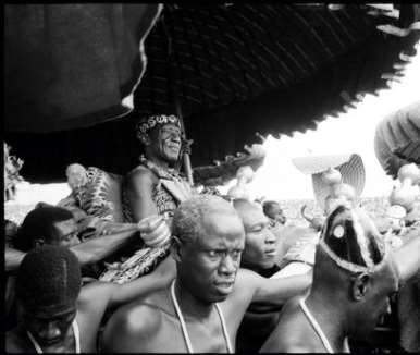 GHANA. Accra. The Ashanti King, Nana Osei Tutu Agyeman Prempeh II, being led by procession during state visit by Queen Elizabeth II. 1961.