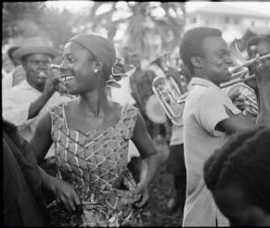 GHANA. Ghanaian musicians and dancers celebrate during a state visit by Queen Elizabeth II. 1961.