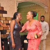 FUN AND LAUGHTER AS OMOTOLA ARRIVES PRIVATE DINNER IN TWO STATEMENT OUTFITS