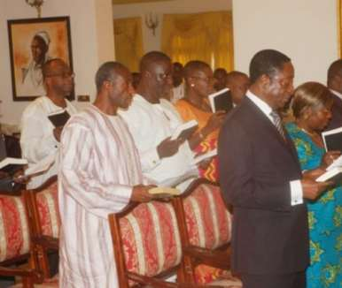 President Mills (extreme right) swearing in to Ministers of State at the Credential Hall at the Castle, Osu.