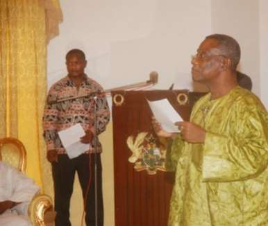 President Mills administering the Oath of Office to 10 Ministers of State at the Credential Hall at the Castle, Osu