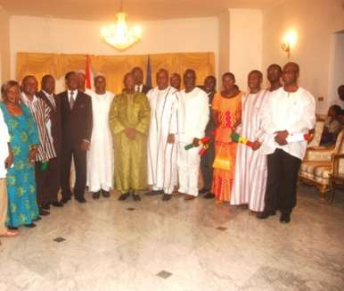 President Mills (sixth from right) with newly sworn-in Ministers of State