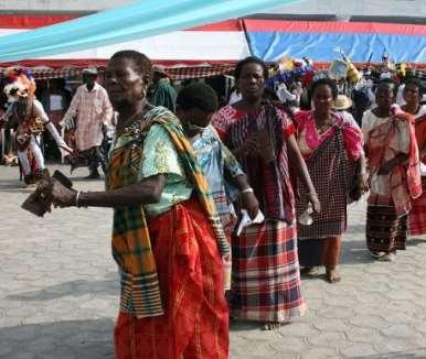 ELDERLY WOMEN OF KALABARI IN ACTION
