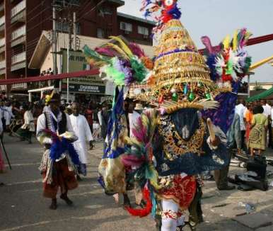 ONE OF THE MASQUERADES ON DISPLAY