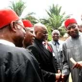 President Goodluck Jonathan And Ghanaian President, John Mahama At Achebe's Burial