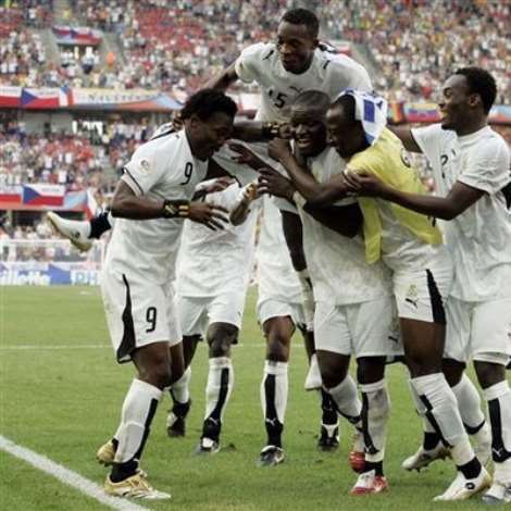 Ghana's Sulley Ali Muntari, third from left,, celebrates with teammates after scoring his side's second goal during the World Cup, Group E soccer matc