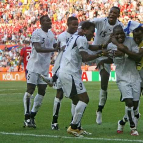 Ghana's Sulley Ali Muntari Celebrates After Scoring His Team's Second Goal Against The Czech Republic During Their Group E World Cup 2006 Soccer Match