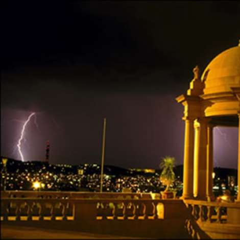 A view of Pretoria from the Union Buildings during a lightning storm