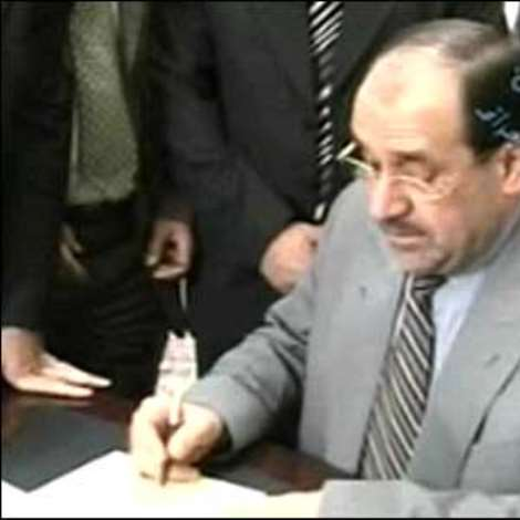 The order to carry out his death by hanging was signed by Iraq's Prime Minister Nouri Maliki.