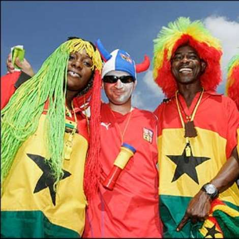 Fans of Ghana and the Czech Republic soak up the atmosphere ahead of their teams' match in Cologne