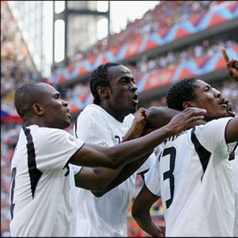 Asamoah Gyan chests down Stephen Appiah's cross and fires it past Peter Cech on just 70 seconds to stun the Czechs