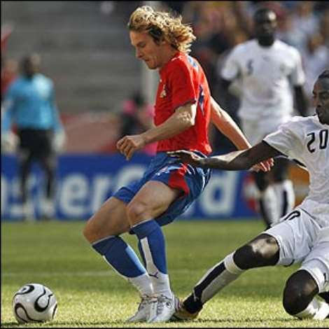 Pavel Nedved carves several opportunites for the Czechs but they fail to capitalise on them and end the half a goal down