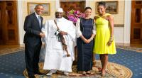America's President Obama and First Lady Michelle Obama greet Gambian President Yahya Jammeh and First Lady Zineb Jammeh at the White House on Aug. 5, 2014. (Photo courtesy of the State Department)
