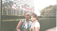 Nana Akua Afriyie Antwi (l) with her friend at the UN Headquarters