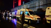 Turkish special force police officers and ambulances are seen at the site of an armed attack at the Reina nightclub in Istanbul on January 1, 2017.  By YASIN AKGUL (AFP)
