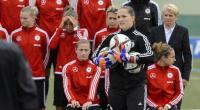 the German women's football team gets ready for a team picture on May 25, 2015 in Wollerau, Switzerland, ahead of the FIFA Women's football World Cup 2015 in Canada.  By Fabrice Coffrini (AFP/File)