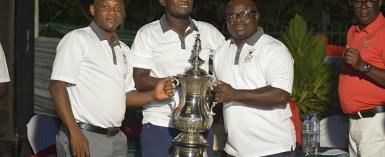 Amponsah (middle) in a pose with captain of the society, Dr Boateng (right) and the President of the society, Pius Ayeh Appiah